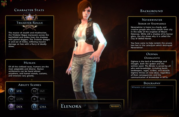 Neverwinter MMO character creation